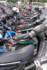 Motorbikes double parked in Yogyakarta, Central Java, Indonesia