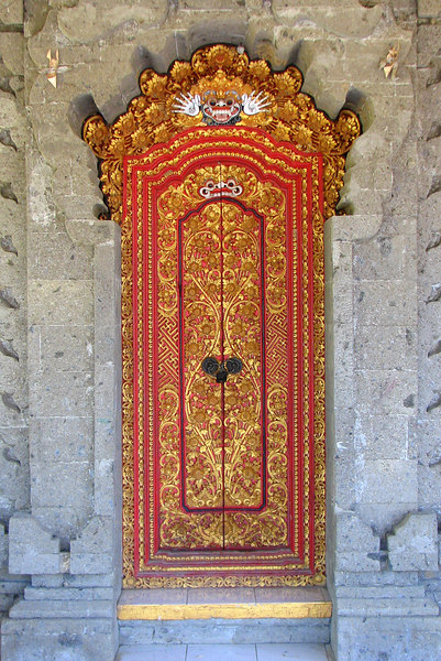 Kori Style Door at Communtiy Center in Penebel, Bale Dawa, Bali, Indonesia