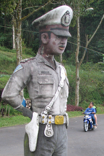 Agus, the honest policeman, near Beratan, Bali, Indonesia