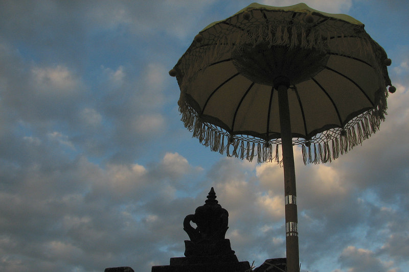 Payung (Umbrela) to keep the Demon from eating the offering, Pura Pucak Sari Kembar Temple, Baturiti, , Bali, Indonesia
