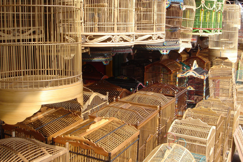 Handmade bamboo birdcages for sale in Yogyakarta, Central Java, Indonesia