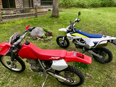 2001 XR400 and a 2019 Husky SuperMoto