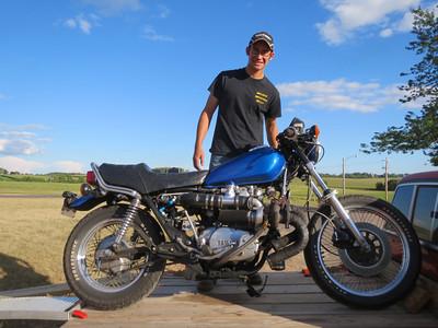 Joe, the mechanical genius and his turbocharged Yamaha 650.