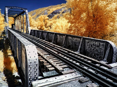 In Durango, Colorado, the trestle for the Durango & Silverton Narrow Gauge Railroad.