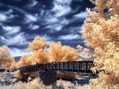 The footbridge in Durango, Colorado parallels the Durango & Silverton Narrow Gauge Railroad tracks.