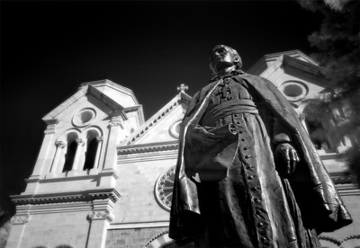 In Santa Fe, the cathedral is guarded by Father Serra
