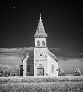 White church & moon