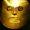 "A mask of gold on display at the Museo del""Oro (Museum of Gold) in Bogota, Colombia"