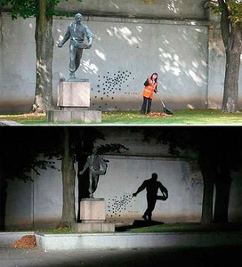 Day and night. The monument in Kaunas, Lithuania