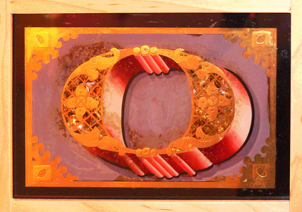"SIGN MUSEUM, CINCINNATI OHIO ... an ornate gold leaf character letter ""O""."