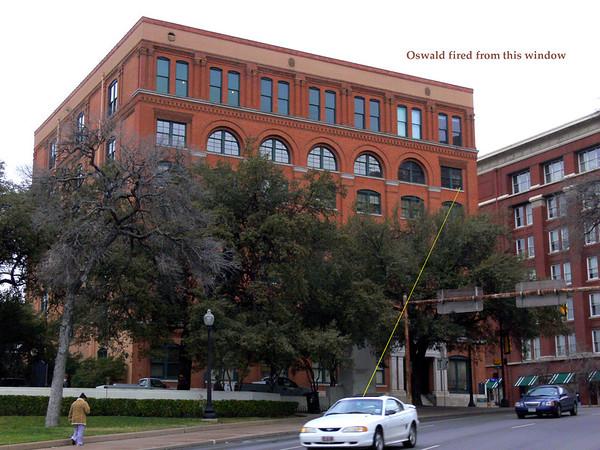 Texas School Book Depository, Dallas, Texas - where employee, Lee Harvey Oswald, fatally shot president Robert Kennedy from a sixth floor window on the southeast corner.