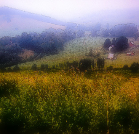 Stylized photo of a Pennsyvania farm.