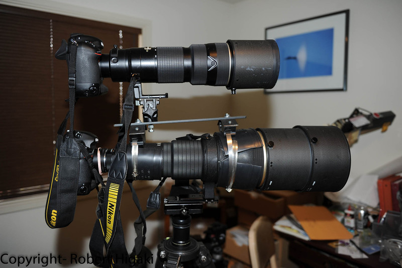 Believe it or not- that is a 200-400mm/f4 sitting on top of the 600mm/f4<br /> This was my first prototype: center of gravity too high which was solved by trial and error.