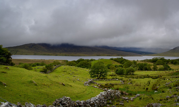 Lough Furnace and rain clouds, County Mayo, Ireland.