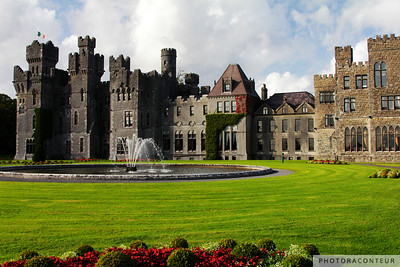 """Ashford Gardens"" ~ Beautiful gardens and fountain on the grounds of Ashford Castle in County Mayo, Ireland.  Read more about Ashford Castle on IRElogue."