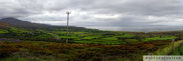 """Tralee Bay"" ~ Panoramic view of the Irish landscape and Tralee Bay as seen from a scenic overlook or ""viewing lay-by"" at Scrallaghbeg on the Dingle Peninsula, County Kerry, Ireland.  Click here to SEE IT BIG!  This multi-frame stitched photo has an aggregate size of 53 megapixels."