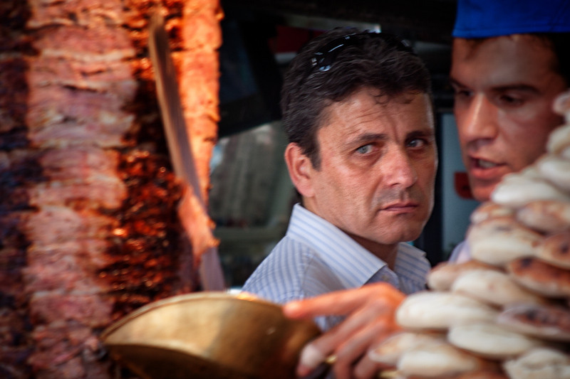 A shwarma merchant in his shop in Istanbul