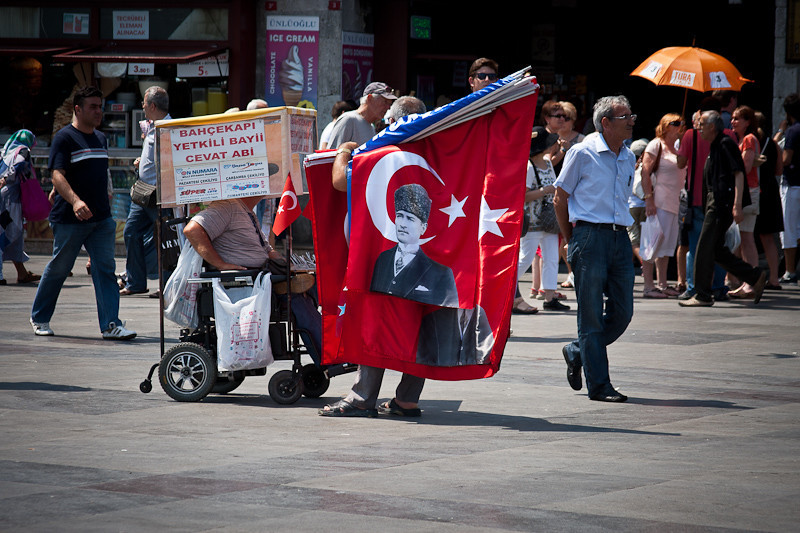 Selling flags on the streets of Istanbul