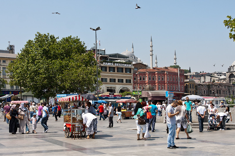 in the square just off the Golden Horn (section of the Bosporus)