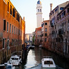 Venice, Canal with white tower