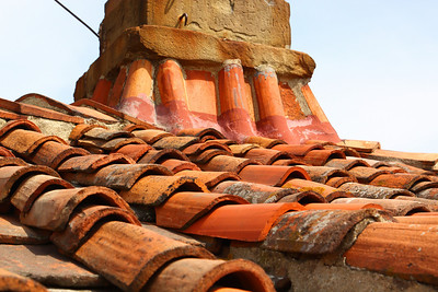 close up of the roof of the tower