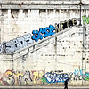 Graffiti along the wall of the Tiber River, Rome, Italy