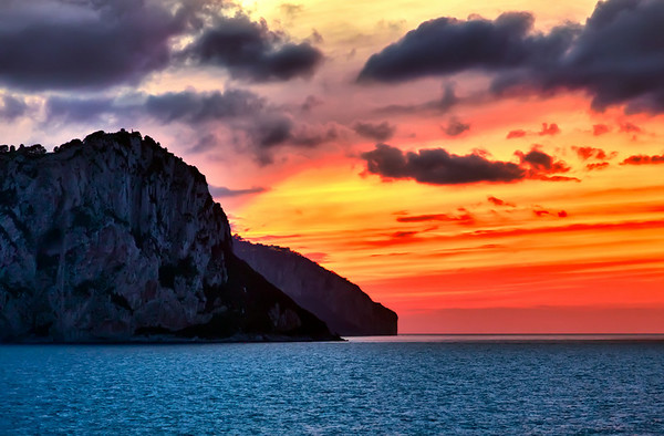 Sunset over Isle of Capri, Italy