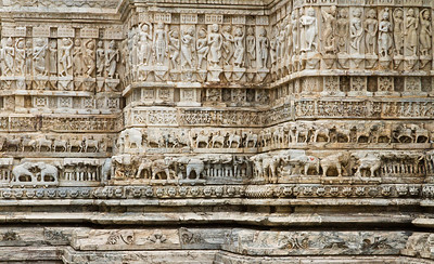 Jagadish temple carvings. Udaipur city palace.