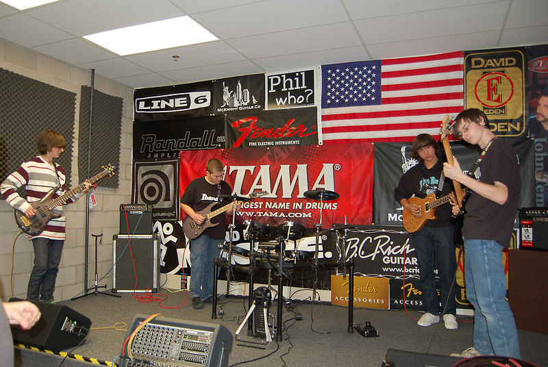 Jam session 1 at McKnight Guitar Co.<br /> <br /> Left to right: Zach, Eric, Christian, and Josh