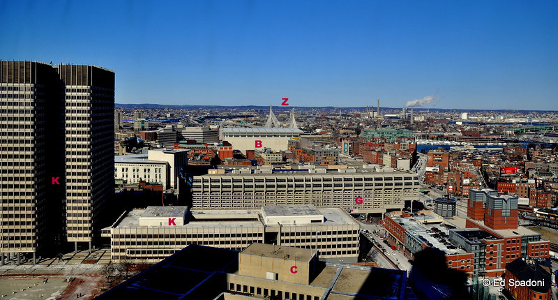 """Boston, looking north, with landmarks<br /> <br /> Z -  Zakim Bridge, the best part of the """"Big Dig"""". For a closer look, see Diane's recent daily here:  <a href=""""http://bit.ly/9pYqhc"""">http://bit.ly/9pYqhc</a><br /> B - TD Banknorth Garden (always the Boston Garden to we Bostonians), home of the Celtics and Bruins, ice shows, circuses, conventions and more<br /> G -  Government Center<br /> K -  John F. Kennedy Federal Building, location of the office of the late Sen. Ted Kennedy<br /> C -  Boston City Hall"""
