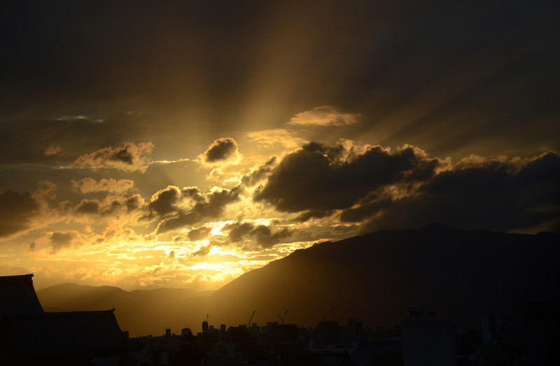 Just a quick shot off my balcony of the amazing sunset in Kyoto on June 27th, completely untouched in Photoshop or anything.