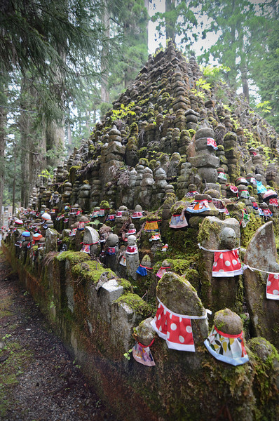 Statue pyramid along the pathway to Okunoin at Mt. Koya.