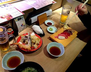 Tempura, seaweed soup, and nigiri