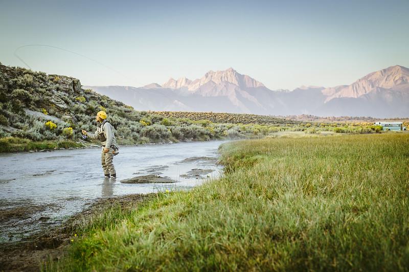 Fly fishing Hot Creek. Mammoth Lakes, CA