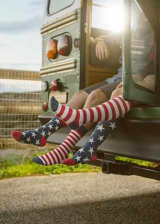 Stars and stripes. footwear apparel shoot