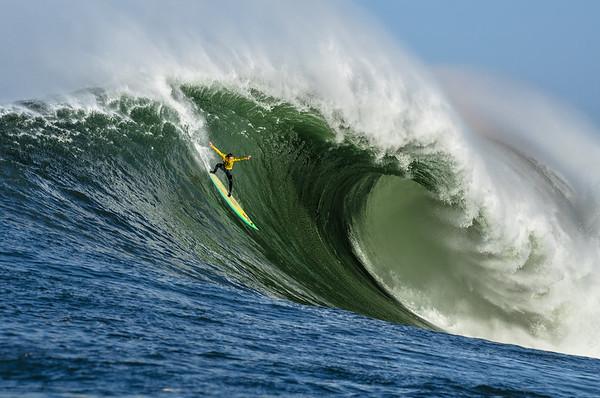 Zach Wormhoudt surfing Mavericks
