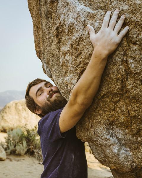 Rock climbing the Buttermilks in Bishop, CA