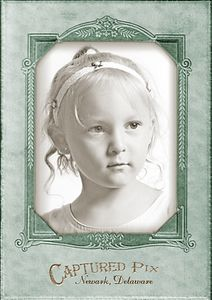The photo of the girl was taken in July 2004. Antique finishing and vintage mattes of any color can be designed into your final portraits! If you do not prefer the Captured Pix logo, a message of your choice can be incorporated.