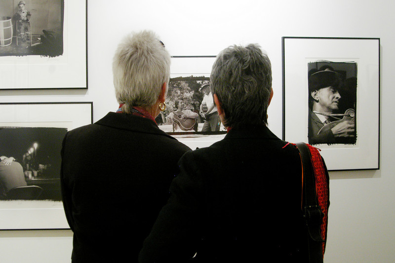 Photography reception of Jim Marshall at Gallery 291, 291 Geary St., San Francisco<br /> • Joan Baez, right