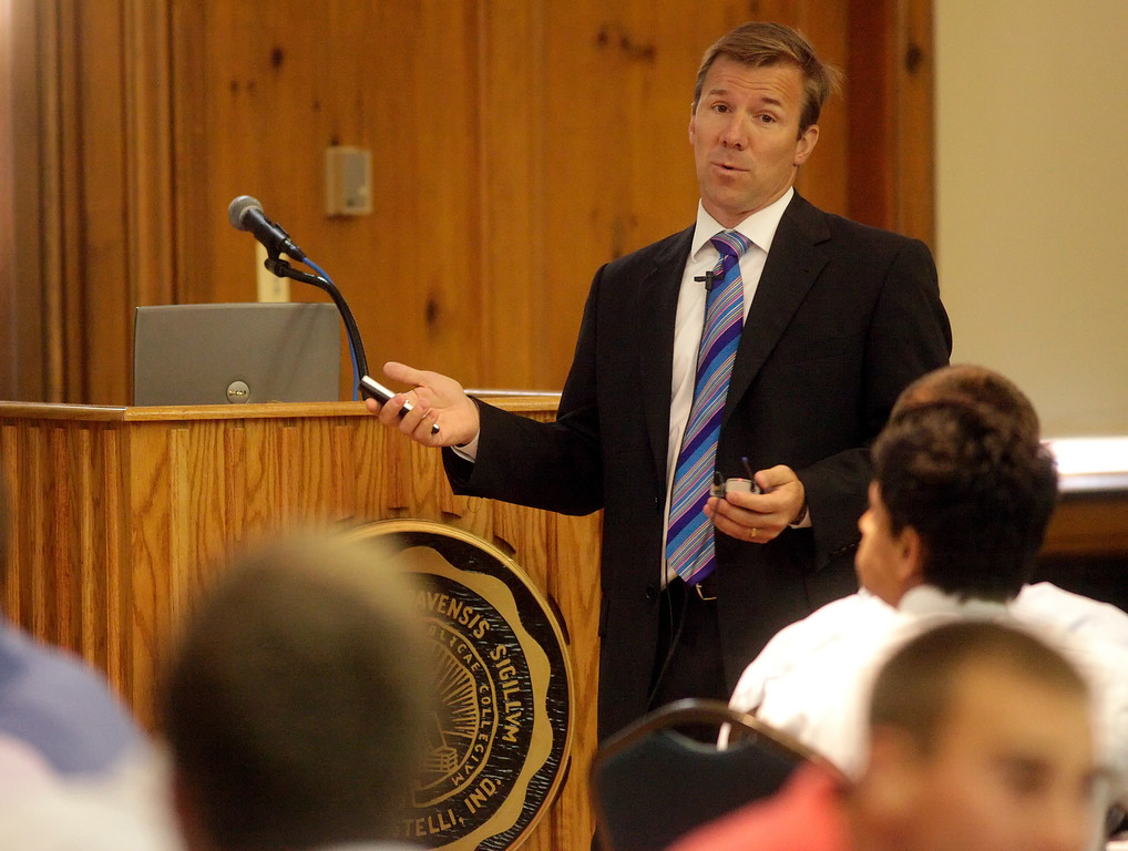 John Dill, a 1987 graduate of DePauw and CFO and Parter of Ampac Packaging presents a McDermond Lecture in the UB Ballroom on Thursday, Sept. 17, 2009.
