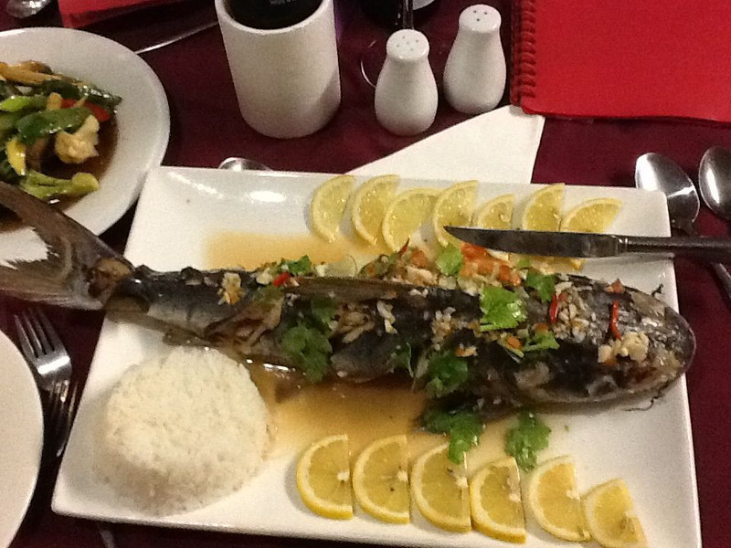 20 pm - Caught a couple of catfish at Red Beach near Weipa. Asked the owner of the local Thai restaurant to steam one Thai-style. Here is the yummy result.<br /> 04 2012 Weipa / Cape York Peninsula / Australia
