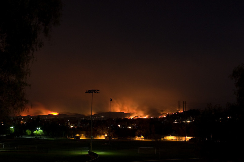 Fire beyond the soccer fields