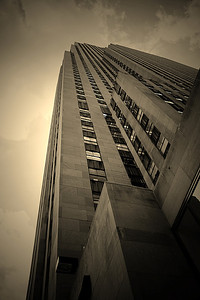 30 Rock seen from the ground and done in sepia . Photographed on a recent trip to NYC.