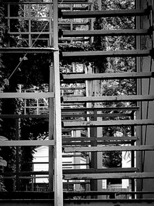 Outdoor sets of stairs outside an apartment building in Columbus, Ohio done in monochrome.