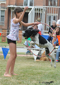 Brandi McCraw, 10, of Wellington, with her dog Duke, a 7-year-old springer spaniel, jumping through a hoop in the Dog Show competitIon at the Fourth of July Celebration in Wellington on Monday, July 4.  STEVE MANHEIM/CHRONICLE