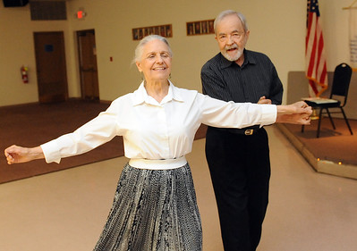 Lois and Doyt Echelberger of Huron dance at the monthly Senior Dance, presented by Amherst Manor Retirement Community, at the Amherst VFW Hall on July 18. STEVE MANHEIM/CHRONICLE
