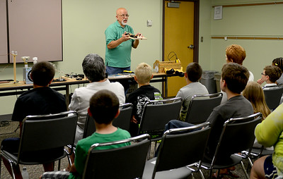 "Energy Specialist Barry Kaufman gives a presentation titled ""Wonders of Electricity LLC"" regarding electrical safety on July 10 at the Lorain Public Library. KRISTIN BAUER 