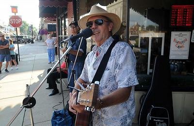 Skip Werke and BC Hudson play blues at Walkin' on Wednesdays in Amherst on Park Street on July 9. STEVE MANHEIM/CHRONICLE