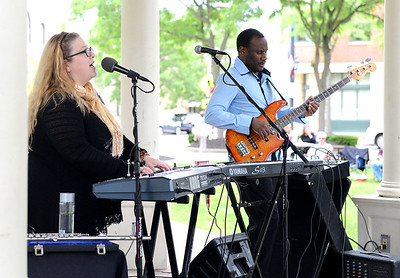 KRISTIN BAUER | CHRONICLE   The 732 Electric Duo performed in Ely Square on Thursday afternoon, June 9 as part of the summer concert series.  There are free Thursday performances weekly from June 2-August 18 in the square.