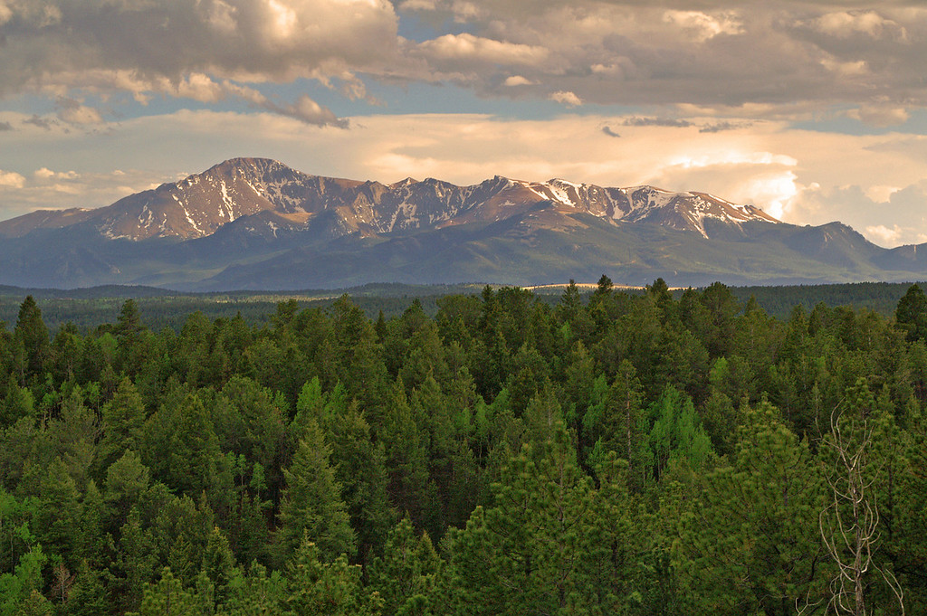 The end of day reveals a nice view of Pikes Peak as seen from the north along Mount Herman Road.